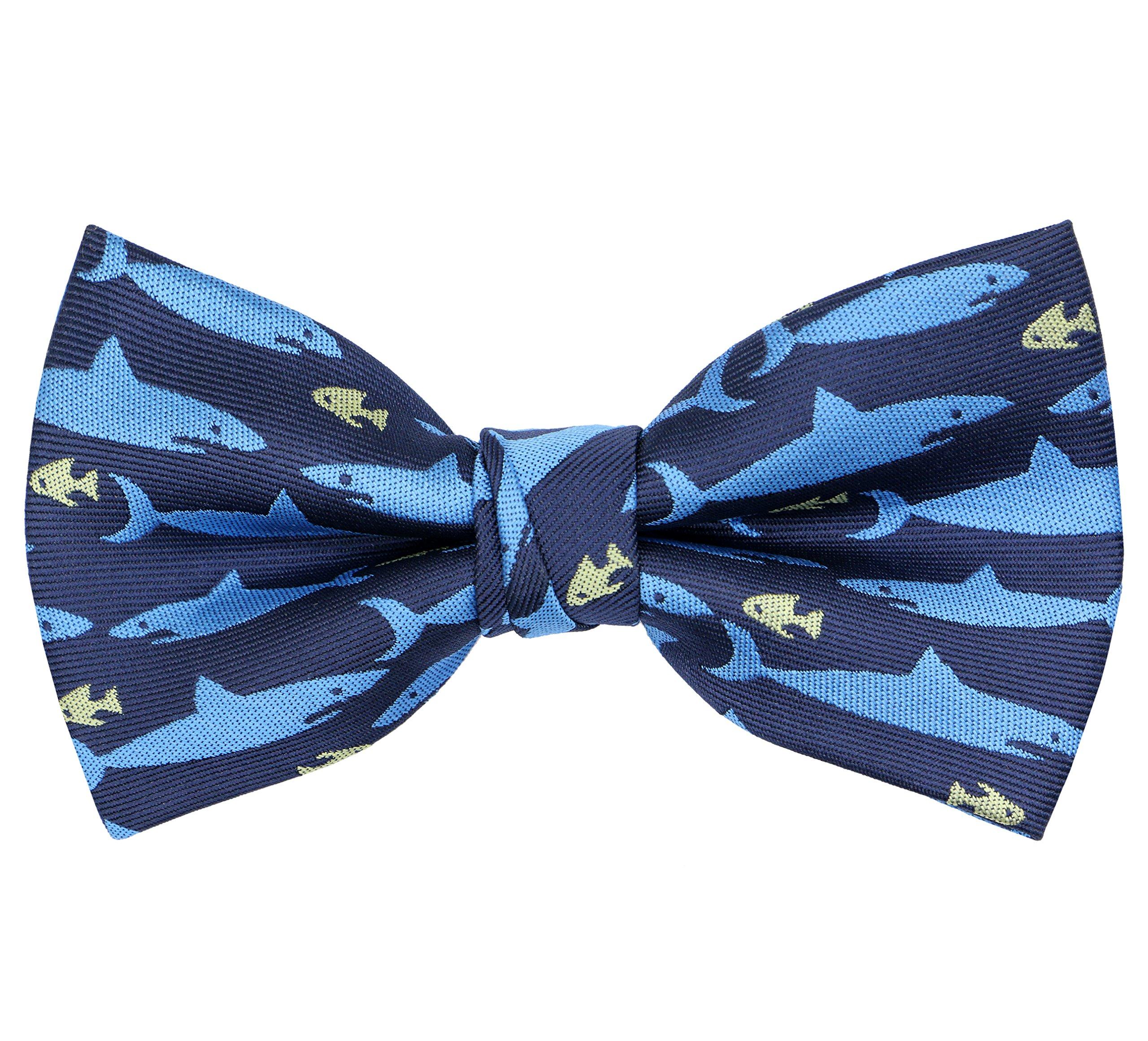 OCIA Pre-Tied Bow Tie Pattern Adjustable Bowties Blue Shark