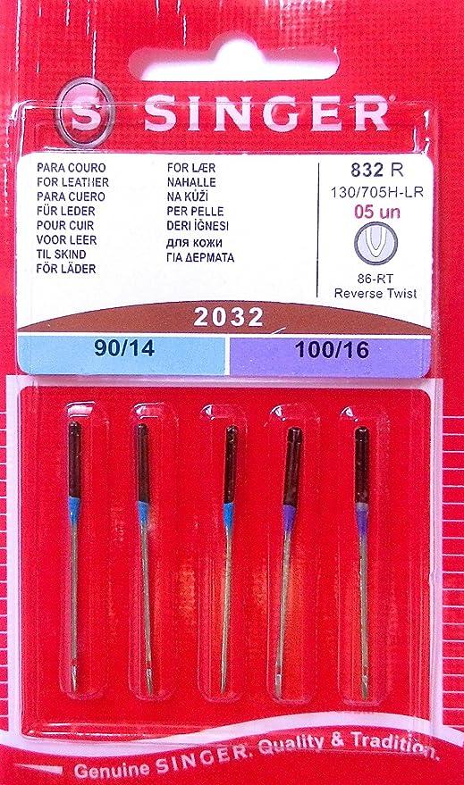 5 original Singer Agujas para Máquinas de Coser 2032 grosor 90/14 y 100/16 para piel 130/705 H-LR