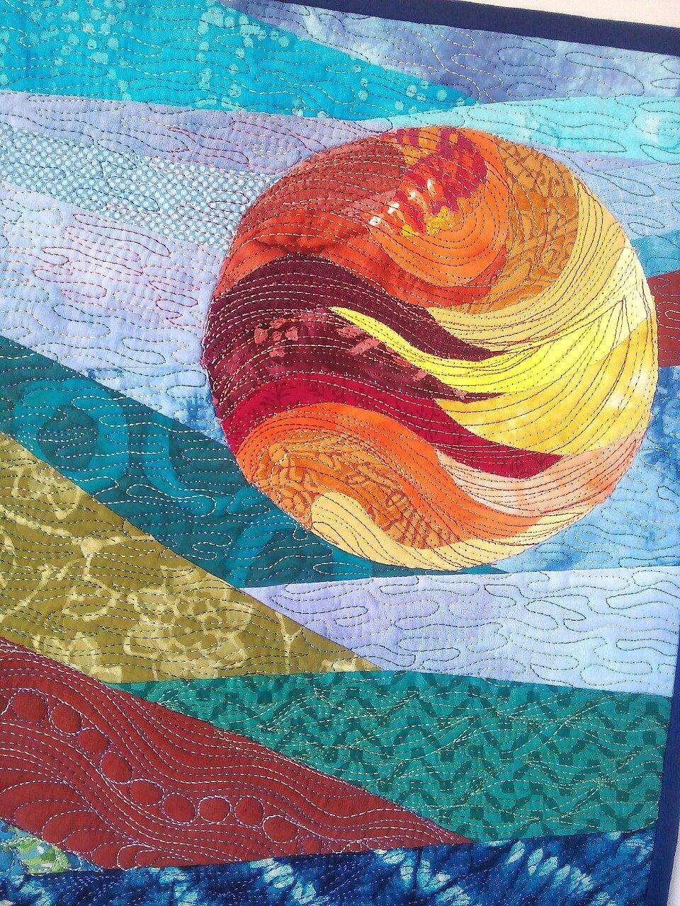 Sunrise wall art, wall Quilt, abstract wall art