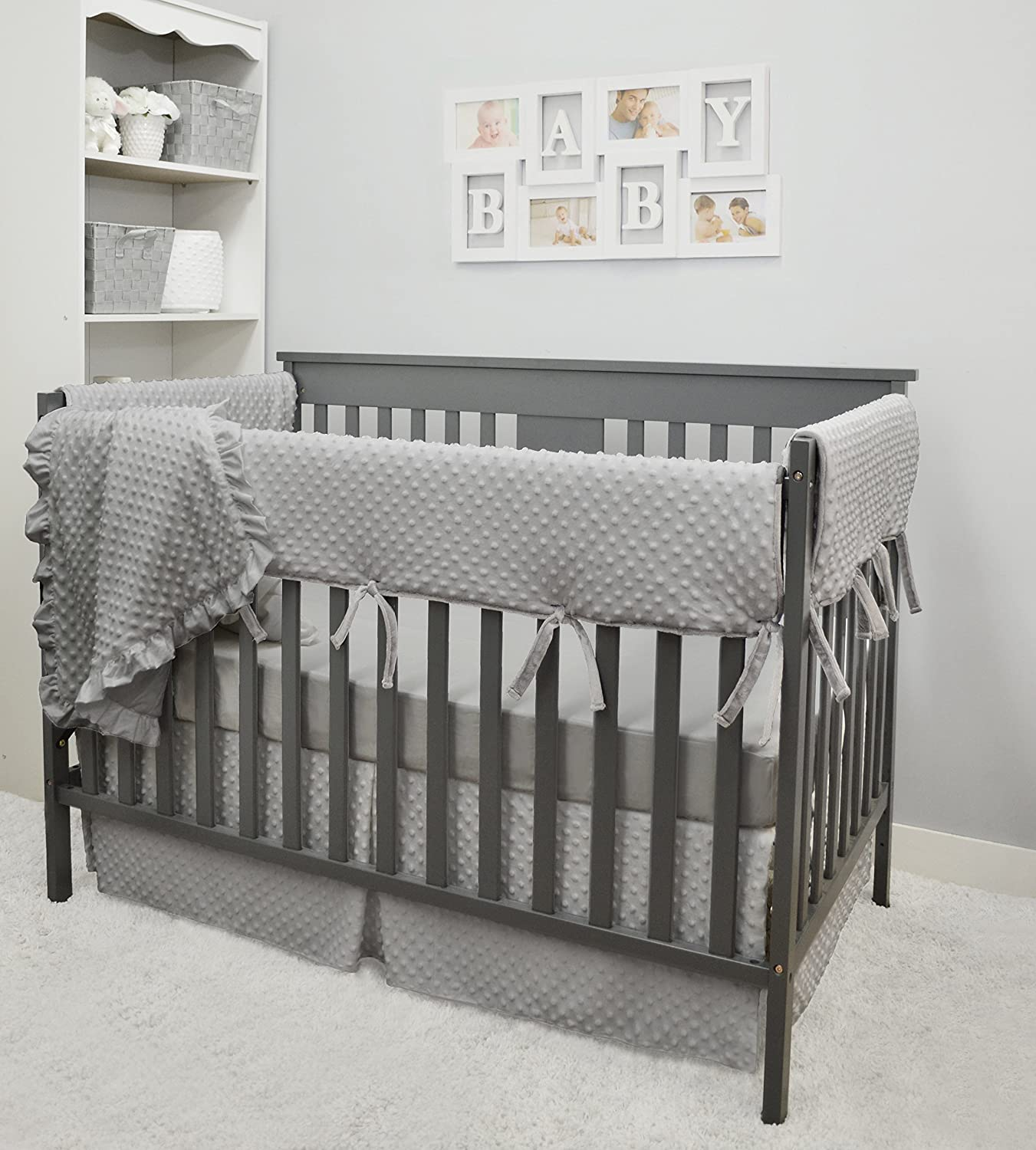 American Baby Company Heavenly Soft 6 Piece Crib Rail Bedding Set, Grey, for Boys and Girls