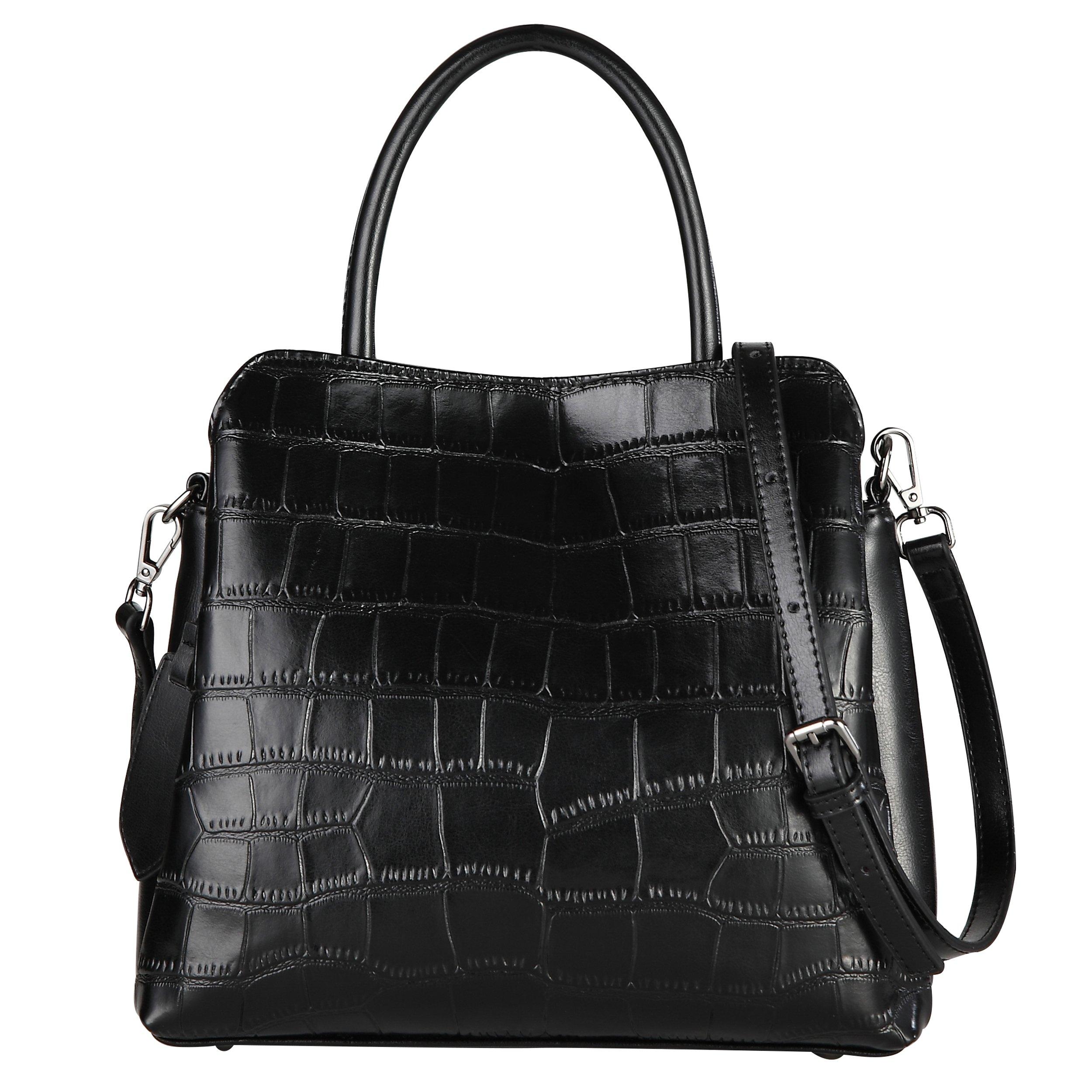 Yiwanda Women's Genuine Leather Handbags Satchel Fashion Tote Bag Purse Shoulder Bags (Black)