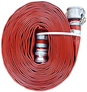 "JGB Enterprises A008-0241-0100 Eagle Red PVC Discharge Hose, 1-1/2"" x 100', Type C and E Cam Locks, Double Banded, 150 psi Working Pressure, -14 Degree F to 170 Degree F"