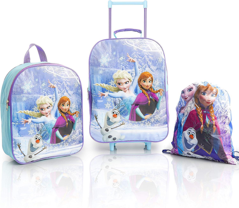 Disney Frozen 2 Mochilas Escolares Para Niñas con Anna Elsa y Olaf, Set de Viaje Princesas Disney 3 Piezas, Bolsa Tela de Cuerdas Mochila Escolar y Mochila con Ruedas, Regalos Para Niños