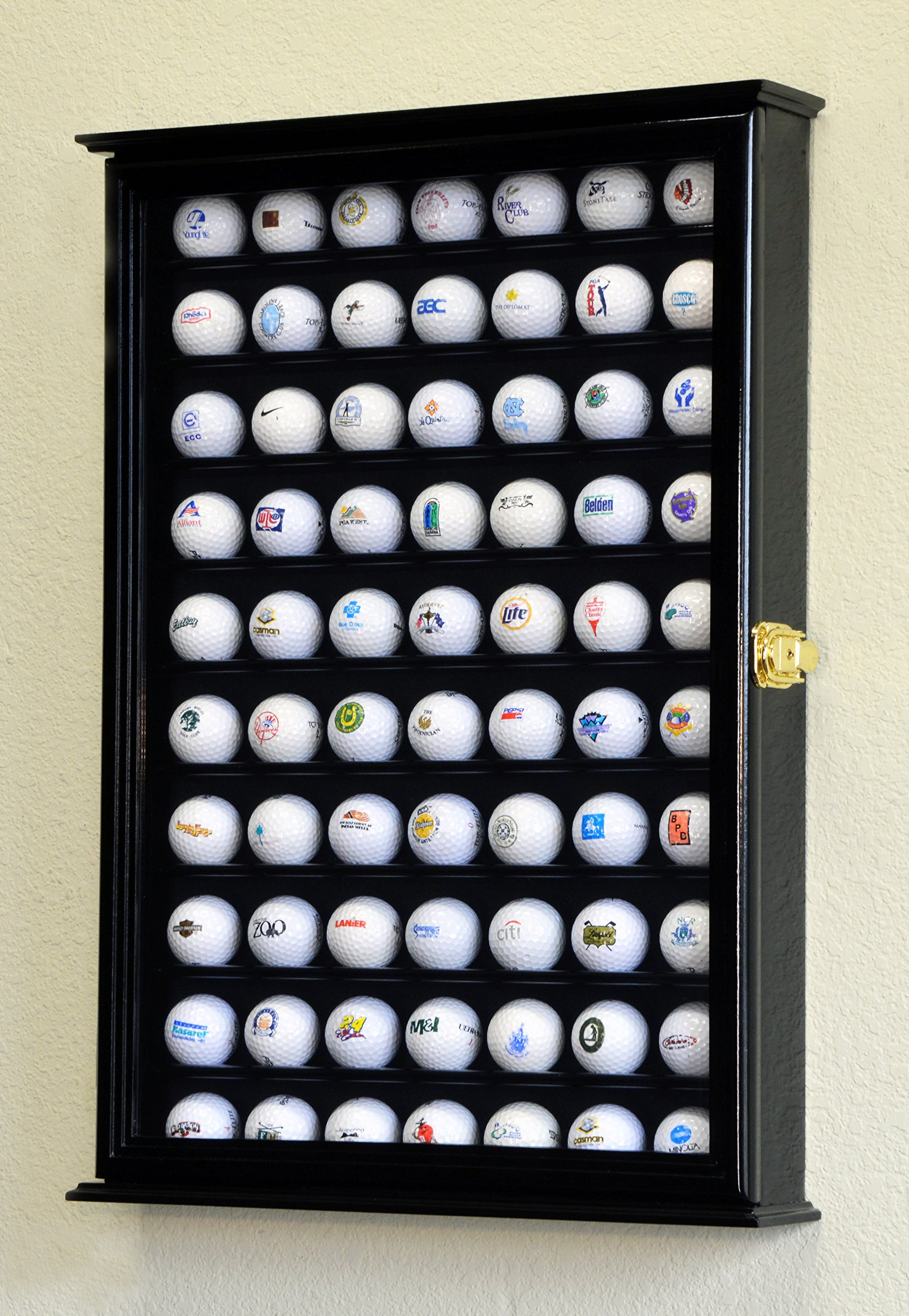 70 Golf Ball Display Case Cabinet Holder Wall Rack w/ UV Protection -Black by sfDisplay (Image #1)