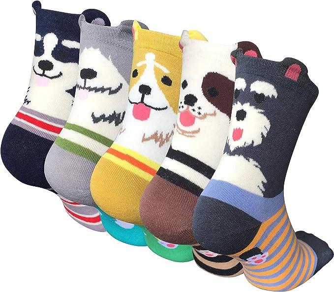 Chalier Pack de 5 Calcetines de Animales Lindos para Mujer Calcetines de Algodón Divertidos Ocasionales para Mujer: Amazon.es: Ropa y accesorios
