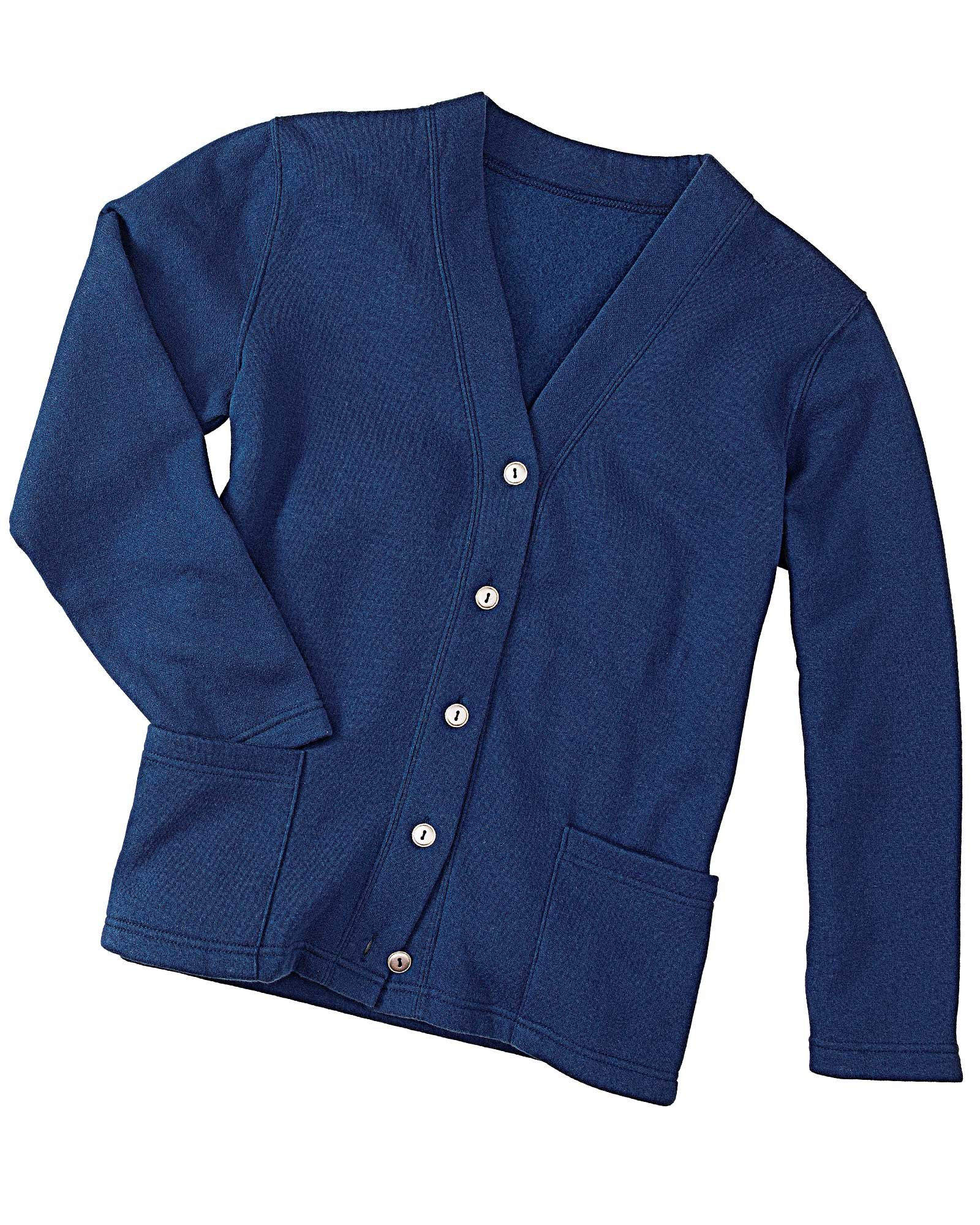 National Fleece Cardigan, Navy, 2X