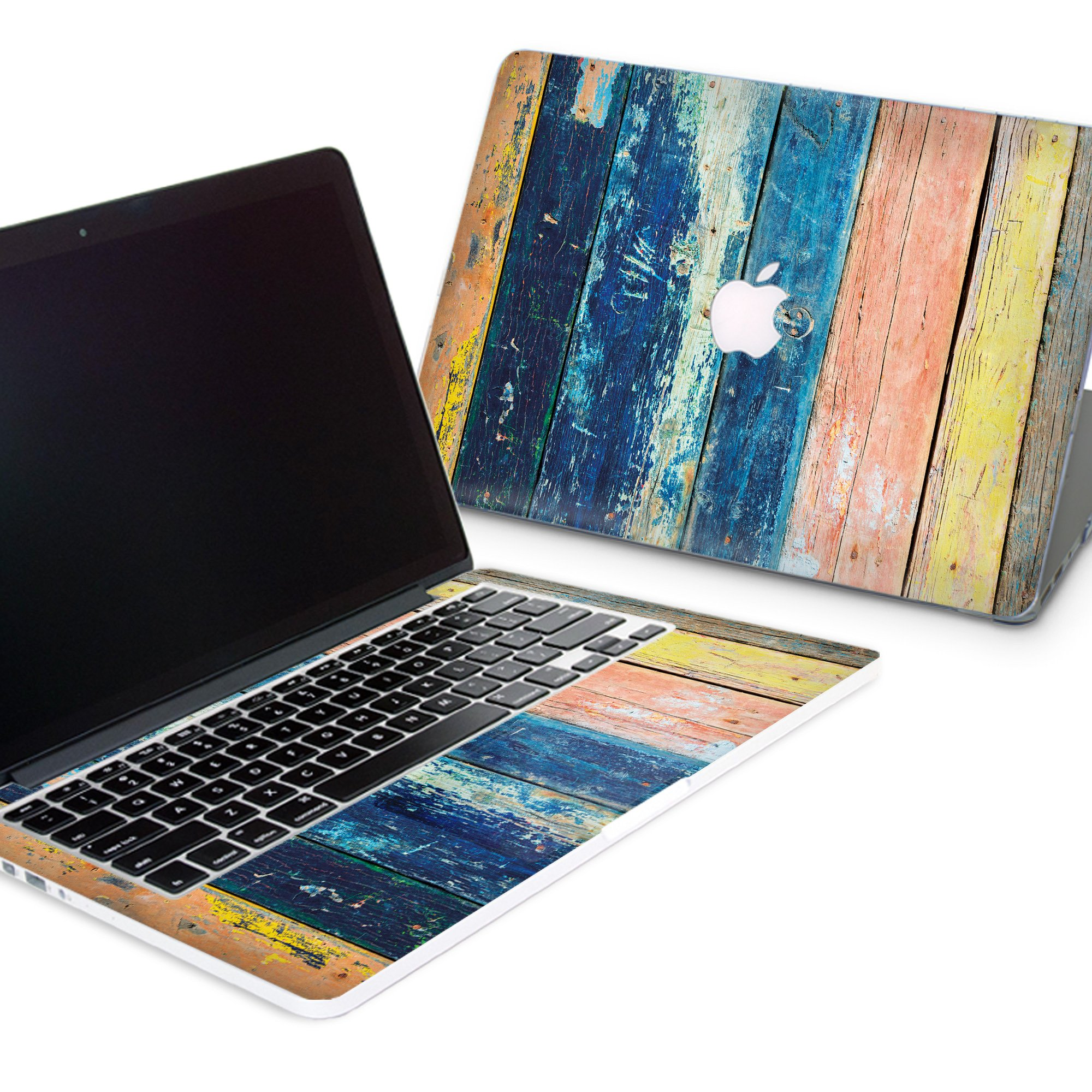 ZizzStore Macbook Hard Case and Keyboard Decal Set Protective Hard Shell with Vinyl Sticker Around Keyboard for (Macbook Pro 15 2017/18 (A1707,A1990), Aged Painted Wood)