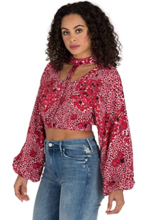 2eb80a12 Poetic Justice Curvy Women's Red Leopard Print Bishop Sleeve Caged Crop  Tops Size S