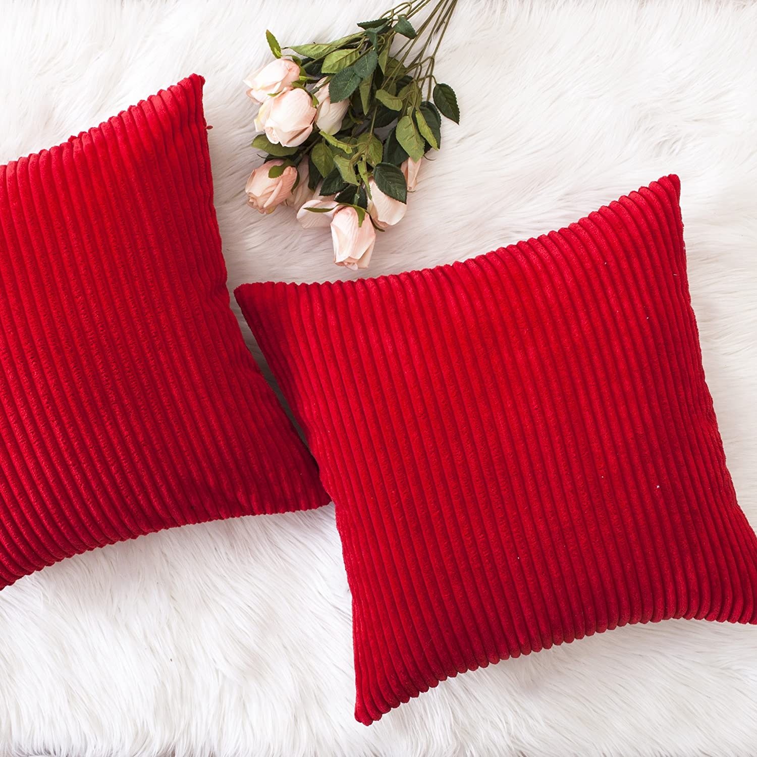 HOME BRILLIANT Christmas Decorative Throw Pillow Covers Striped Velvet Corduroy Plush Cushion Cover Set for Holiday