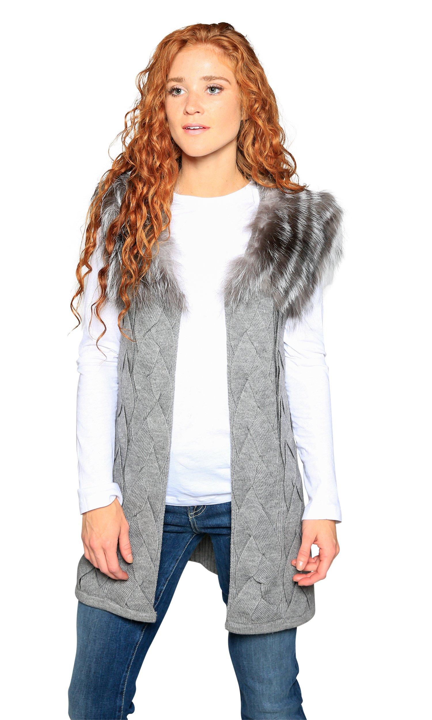 Love Token Melody Genuine Rabbit Fur Trim Vest, Grey, S