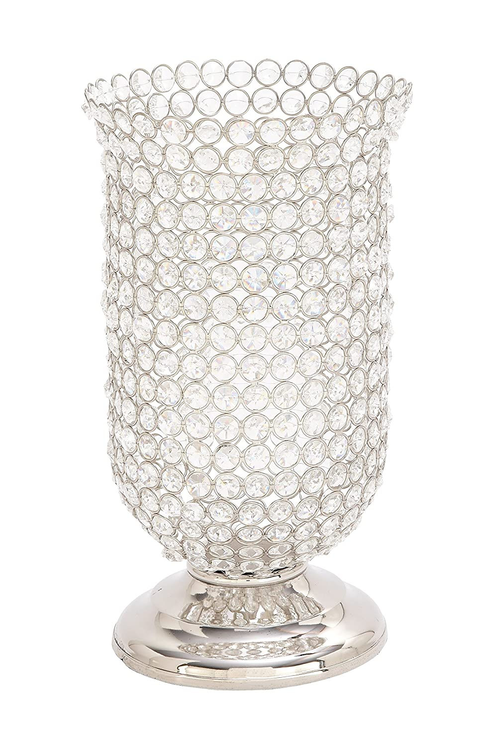 Silver//Clear Deco 79 54259 Inverted Bell-Shaped Aluminum Candle Holder 14 x 7