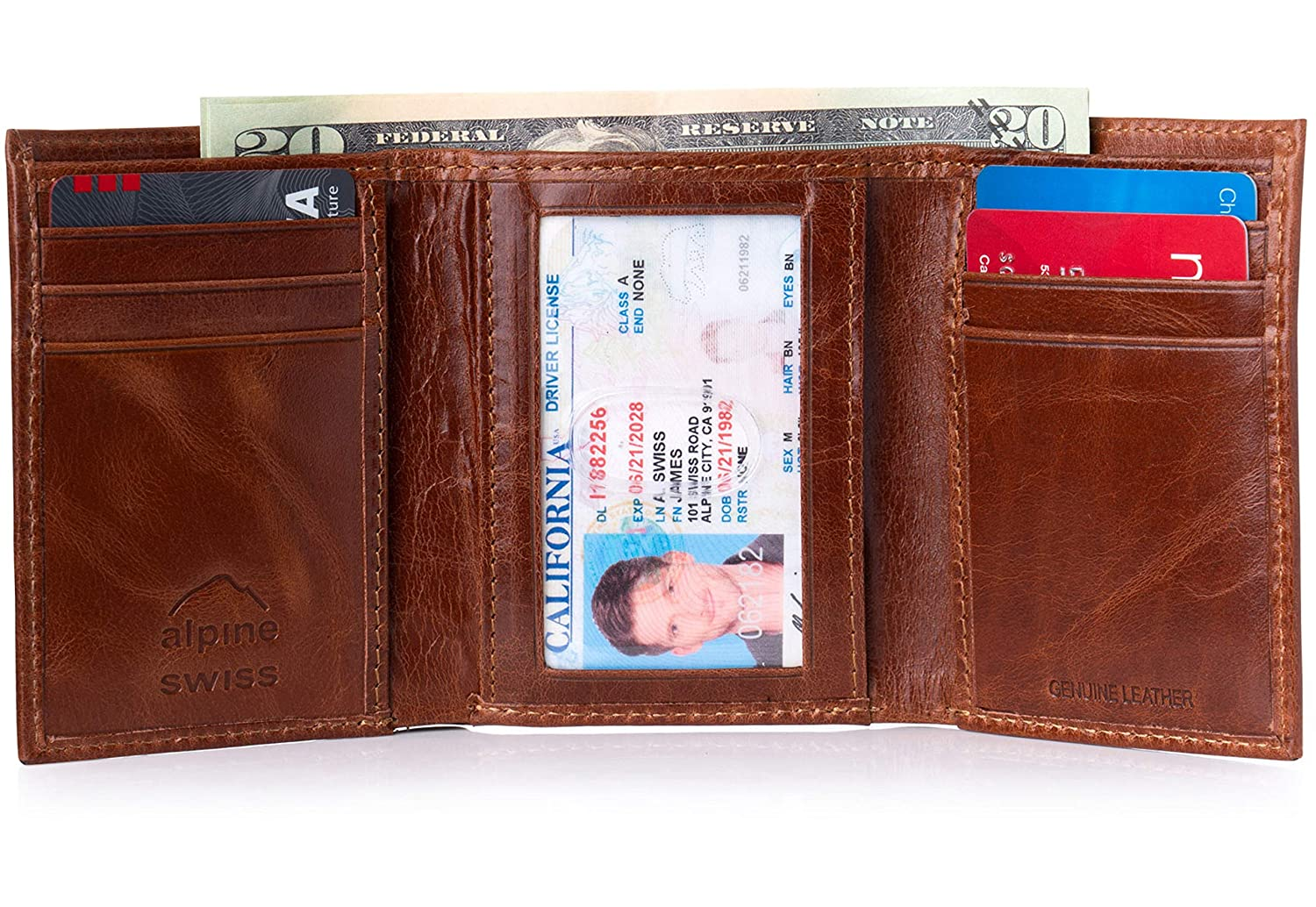 Alpine Swiss Mens RFID Blocking Trifold Wallet Genuine Leather Black One Size RFID-143