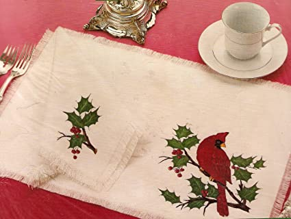 christmas placemats napkins shaded transfers kit cardinal - Christmas Placemats And Napkins