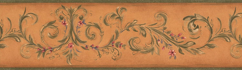 rouleau de 15/x 17,8/cm Fleurs Rouge sur vert Vigne Damas Orange Frise papier peint Motif r/étro