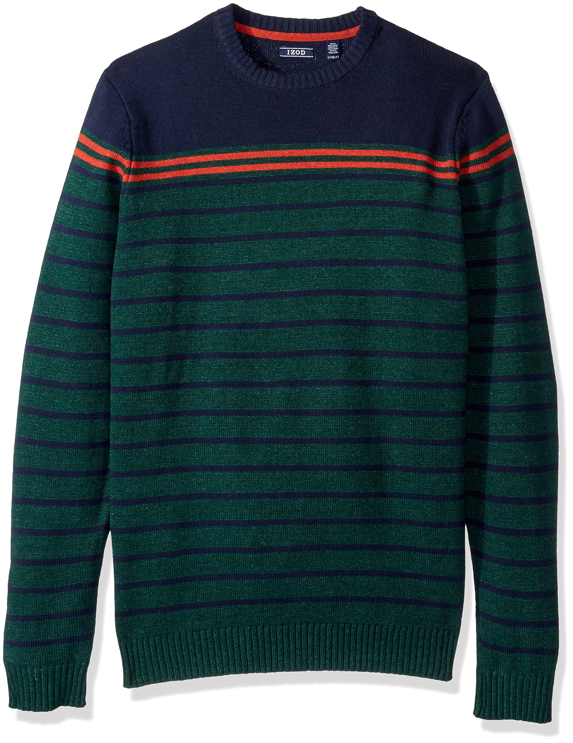 IZOD Men's Big and Tall Stripe 7 Gauge Crewneck Sweater, Bot Garden, 3X-Large