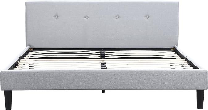 San Francisco Queen Bed Frame | Upholstered Low Profile Headboard +  Platform Bedframe | Gray Linen Modern Style Silver Grey Cloth Bedroom  Mattress ...