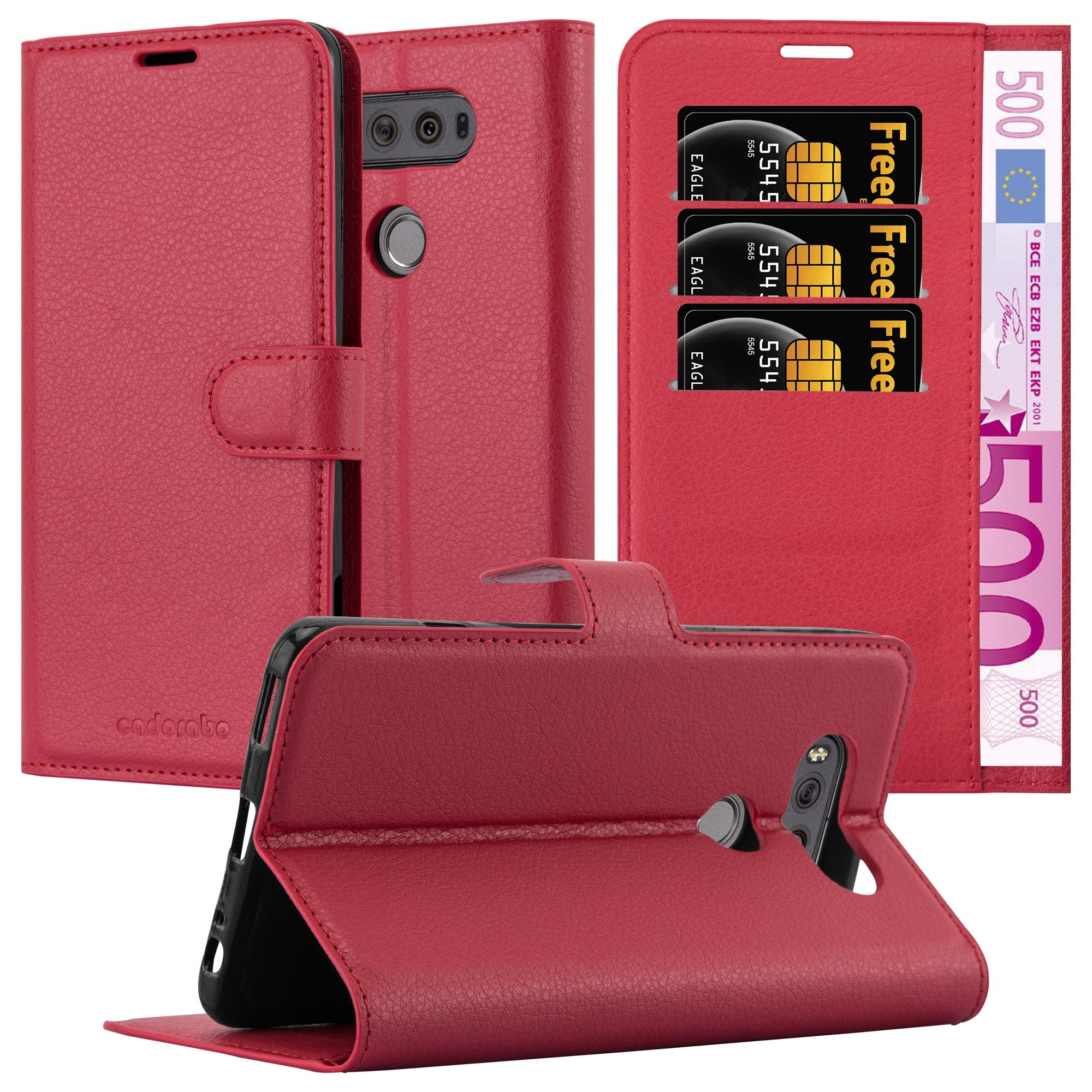 Cadorabo Case Works with LG V20 Book Case in Candy Apple RED – with Magnetic Closure, Stand Function and Card Slot – Wallet Case Etui Cover PU Leather Flip