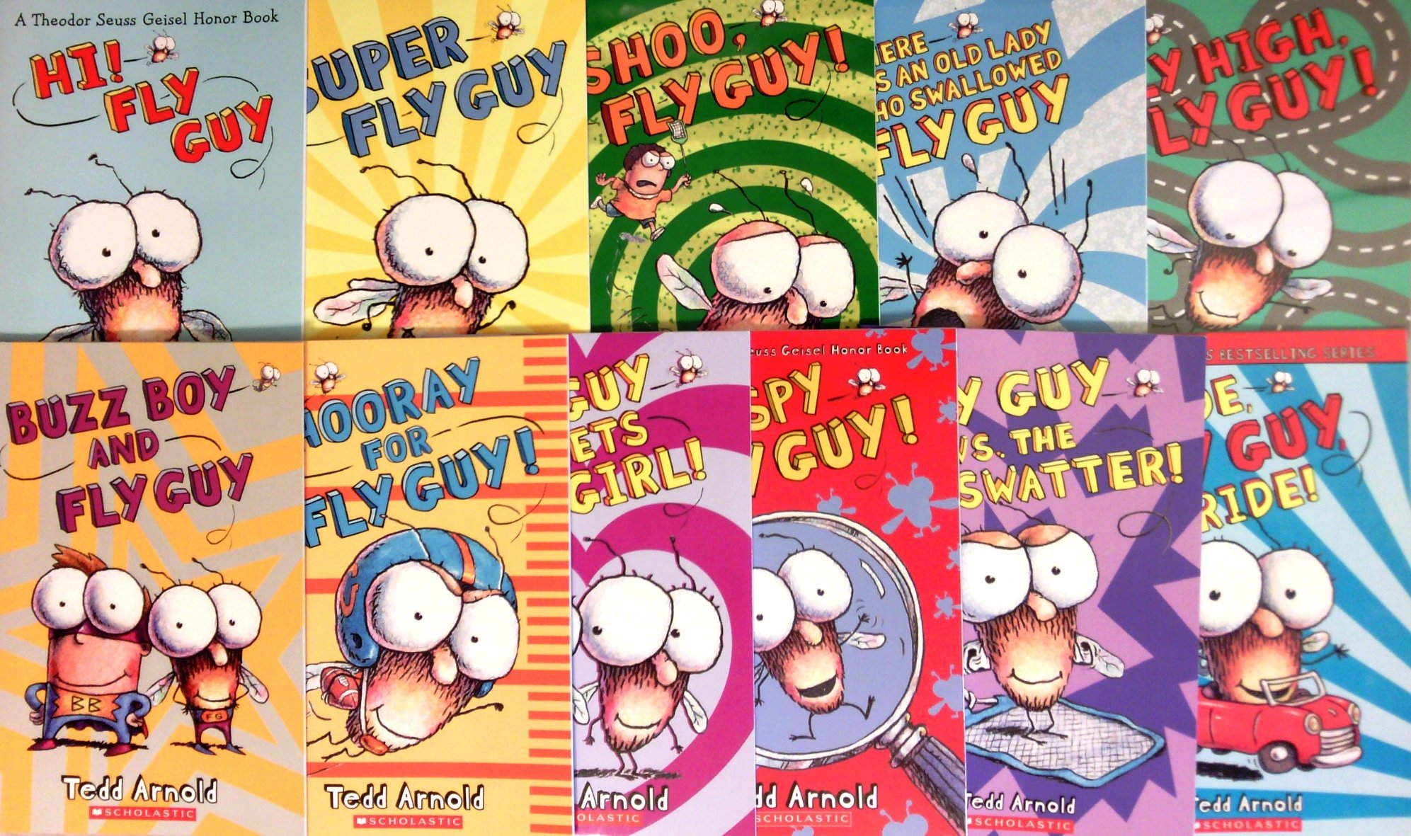 Fly Guy Set of 11 Books: Hi Fly Guy, Shoo Fly Guy, There Was an Old Lady  Who Swallowed Fly Guy, Fly High, Super Fly Guy, Fly Guy vs The Flyswatter,  ...