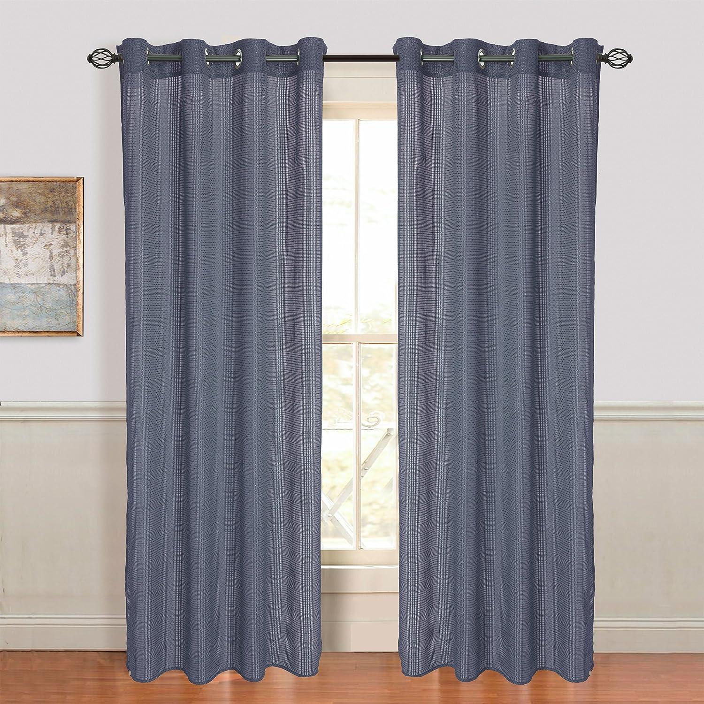 Lavish Home Mia Jacquard Grommet Single Curtain Panel Brown 108-Inch