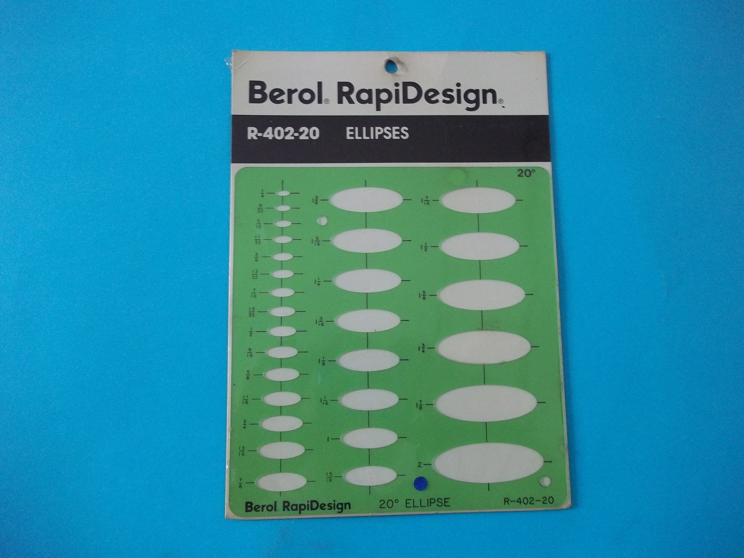 Berol Rapidesign R-402-20 Technical Drawing Template Ellipses 20 Degrees 1/8'' x 2'' Hot-Stamped Centering Lines Made in USA