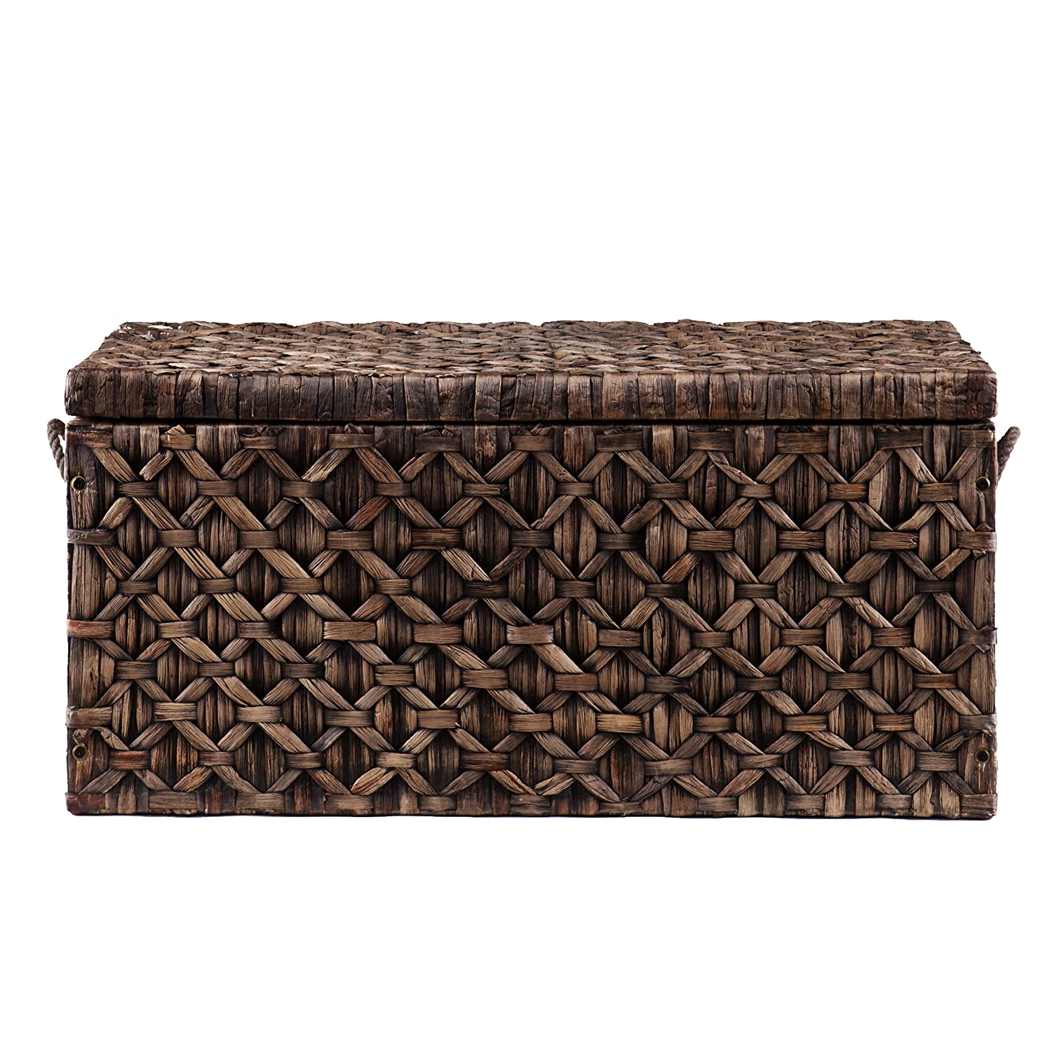 Seagrass coffee table trunk - Southern Enterprises Water Hyacinth Diamond Weave Storage Trunk Blackwashed Finish