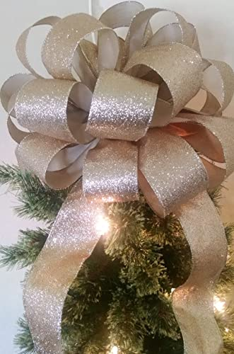 extra large tree topper bow christmas tree topper bow gold tree topper bow - Best Christmas Tree Topper