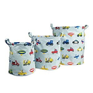 Dream Factory Trains and Trucks Tractor Storage Bin Organizer, Small: 9 x 10 inches; Medium 12 x 13 inches; Large 15 x 17 inches, Multicolor