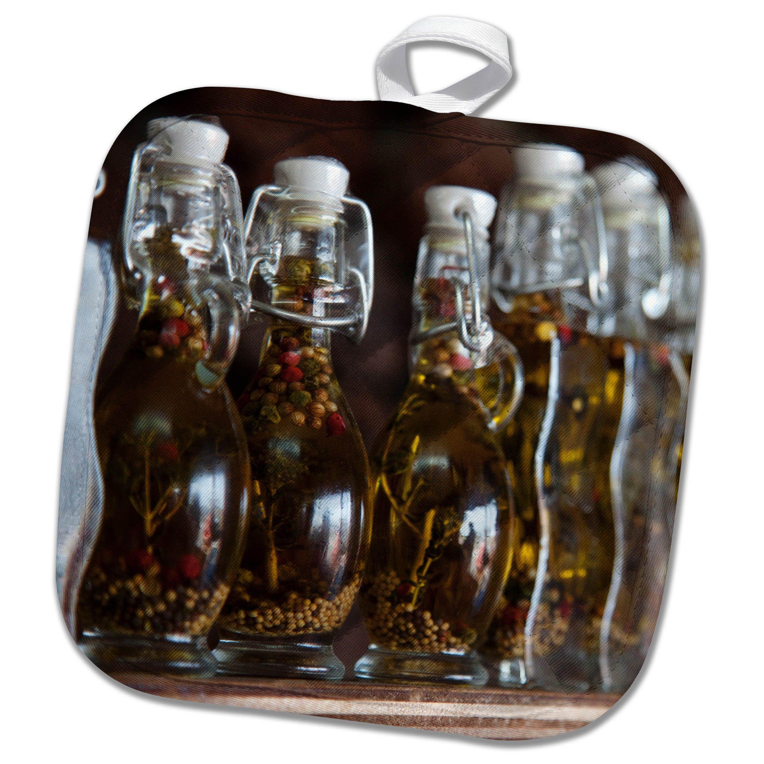 3dRose Danita Delimont - Food - Greece, Santorini. Row of bottles of oil and seasonings - 8x8 Potholder (phl_277437_1)