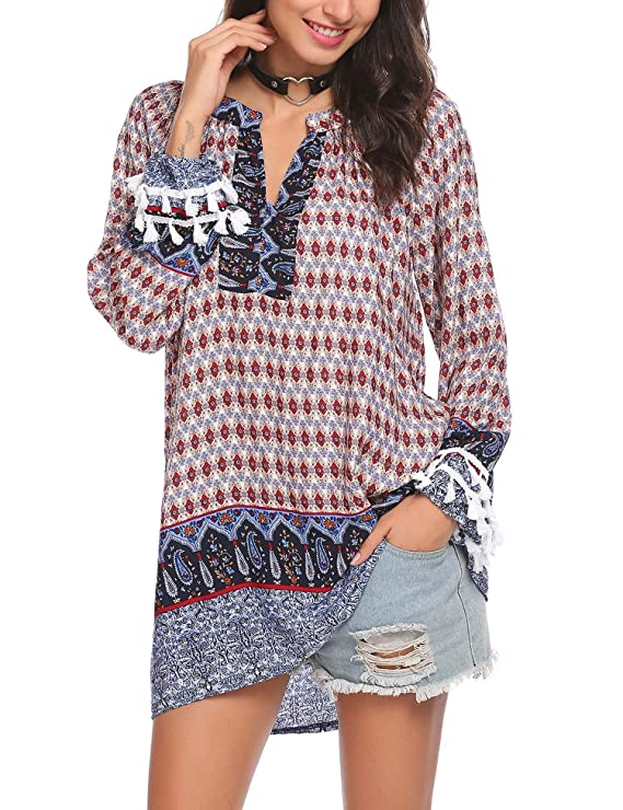 Soteer Women's Long Sleeve Casual Tunic Blouse Boho Print Loose Shirt Tops