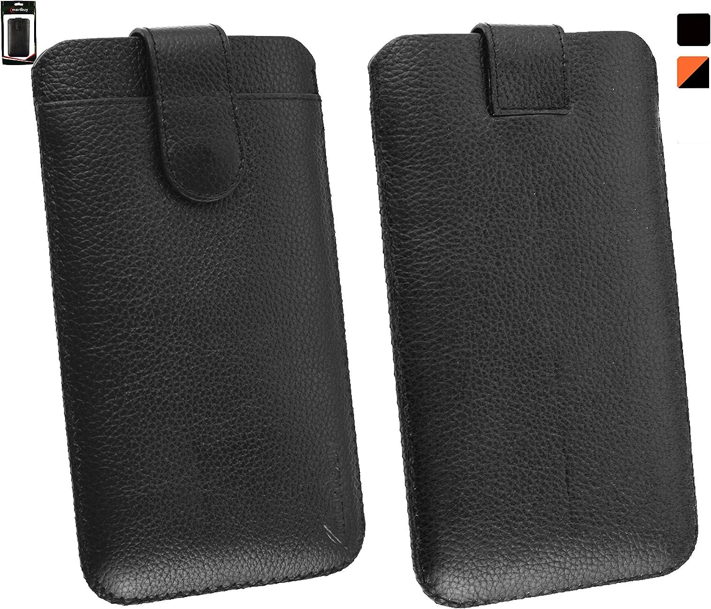Emartbuy® Genuine Cuero Becerro Leather Negro Funda Carcasa Case ...