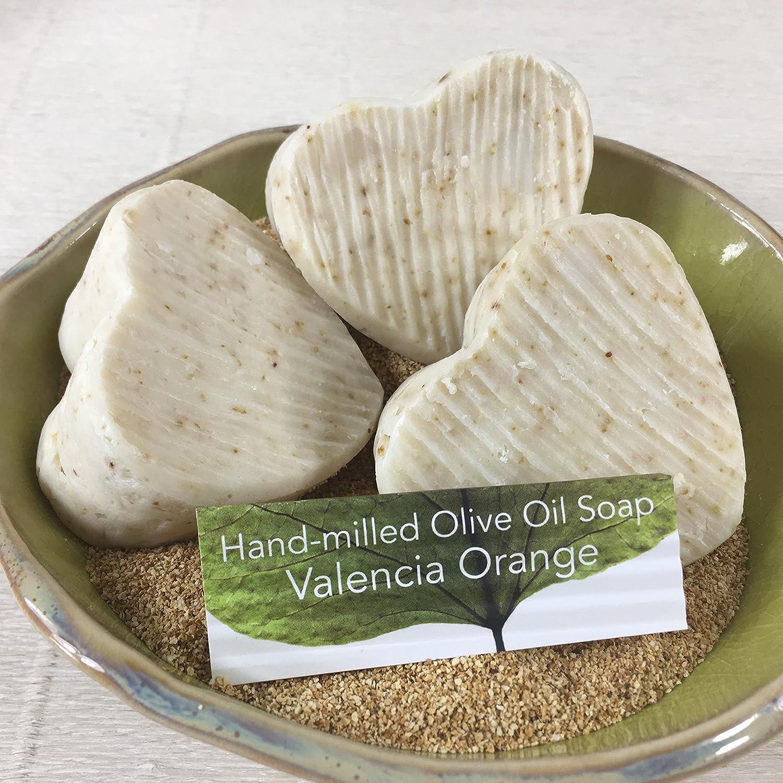 JANECKA Valencia Orange Soap / Hand-milled / Set of 3 Heart Bars