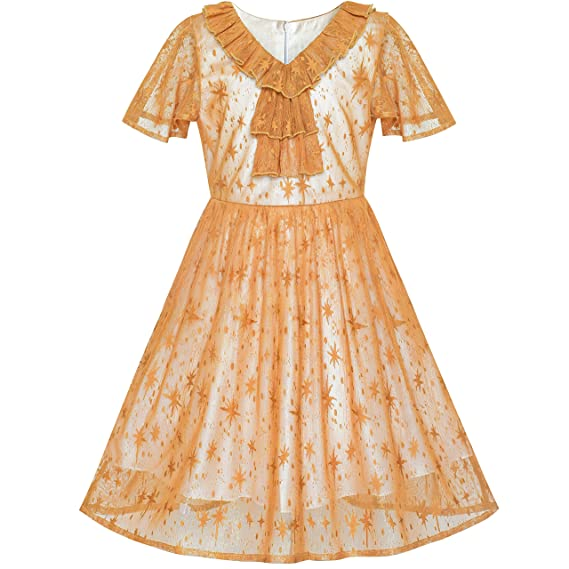 Steampunk Kids Costumes | Girl, Boy, Baby, Toddler Sunny Fashion Girls Dress Caramel Star Lace Short Sleeve Pleated Collar Dress $19.99 AT vintagedancer.com