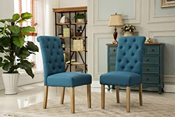 blue chairs for living room. Roundhill Furniture Habit Solid Wood Tufted Parsons Dining Chair  Set of 2 Blue Amazon com