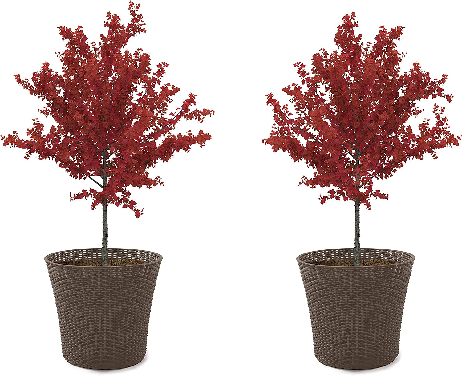 Keter Resin Wicker 15 Gallon Conic Flower Pot Set of 2 Large Planters