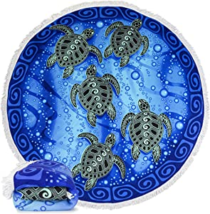 "Dawhud Direct Microfiber Round Large Plush Beach Towel Blanket, 60"" D with Fringe (Tribal Sea Turtles)"