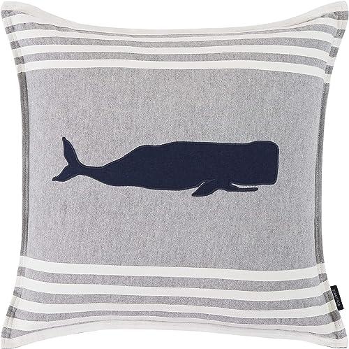 Nautica Whale Applique Throw Pillow, 20 x 20, Grey