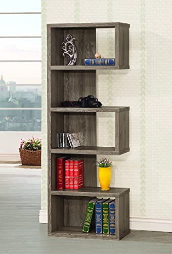 Coaster Home Furnishings 5-Shelf Semi-Backless Bookcase Weathered Grey