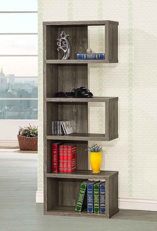 Coaster Home Furnishings 5-Shelf Semi-Backless Bookcase Weathered Grey