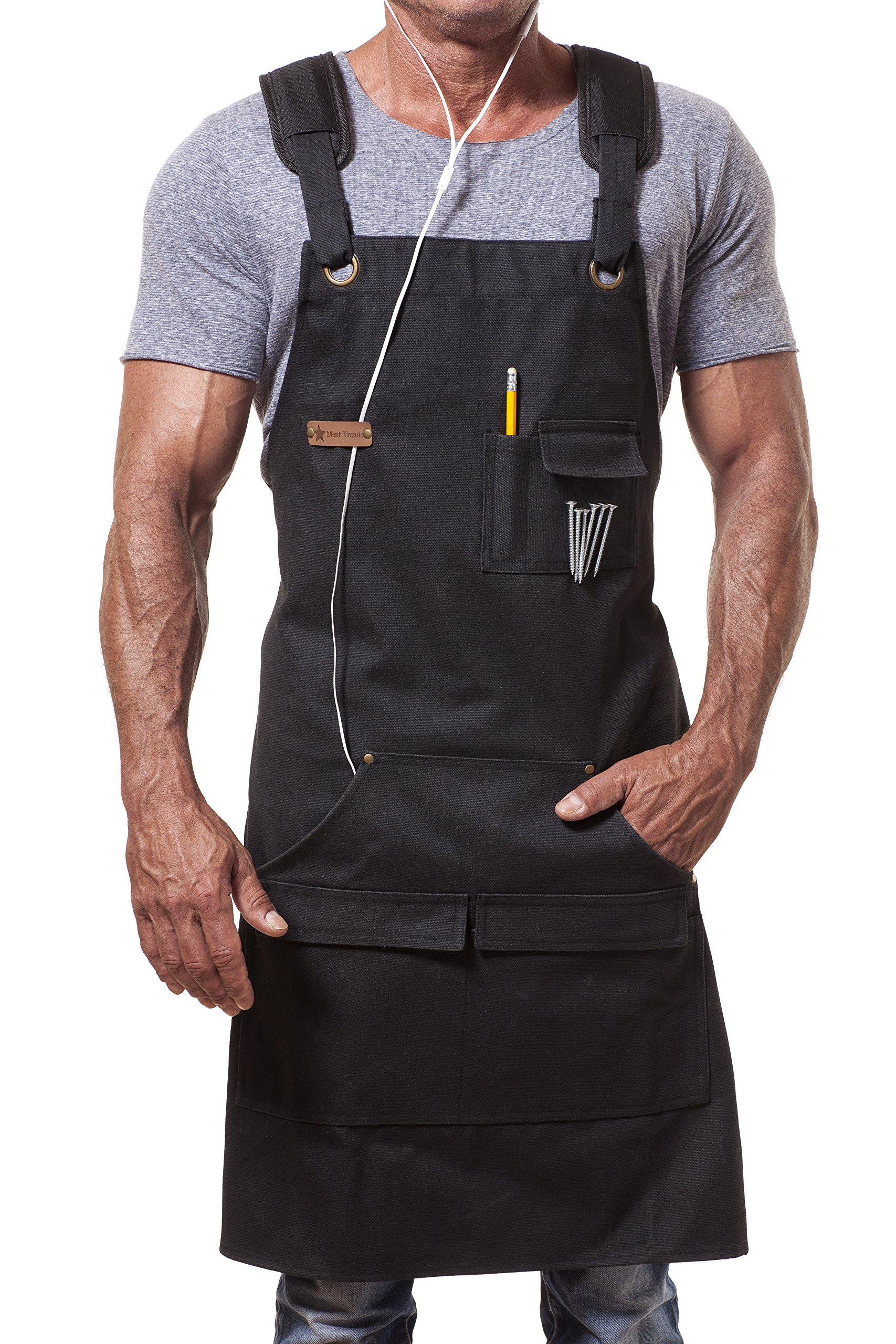 Apron For Men Women Heavy Duty Waxed Canvas Black Waterproof Shop Bib Adjustable M to XXL; Magnetic Pocket + Quick Release Buckle + Dual Tool Loops + Headphones Loop + Padded Straps