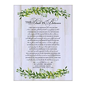 LifeSong Milestones Personalized The Dash in Between Sympathy Gifts for Loss of Loved one Bereavement Wall Plaque for Loss of Mother Father Child with Leaf Border (White Distressed)