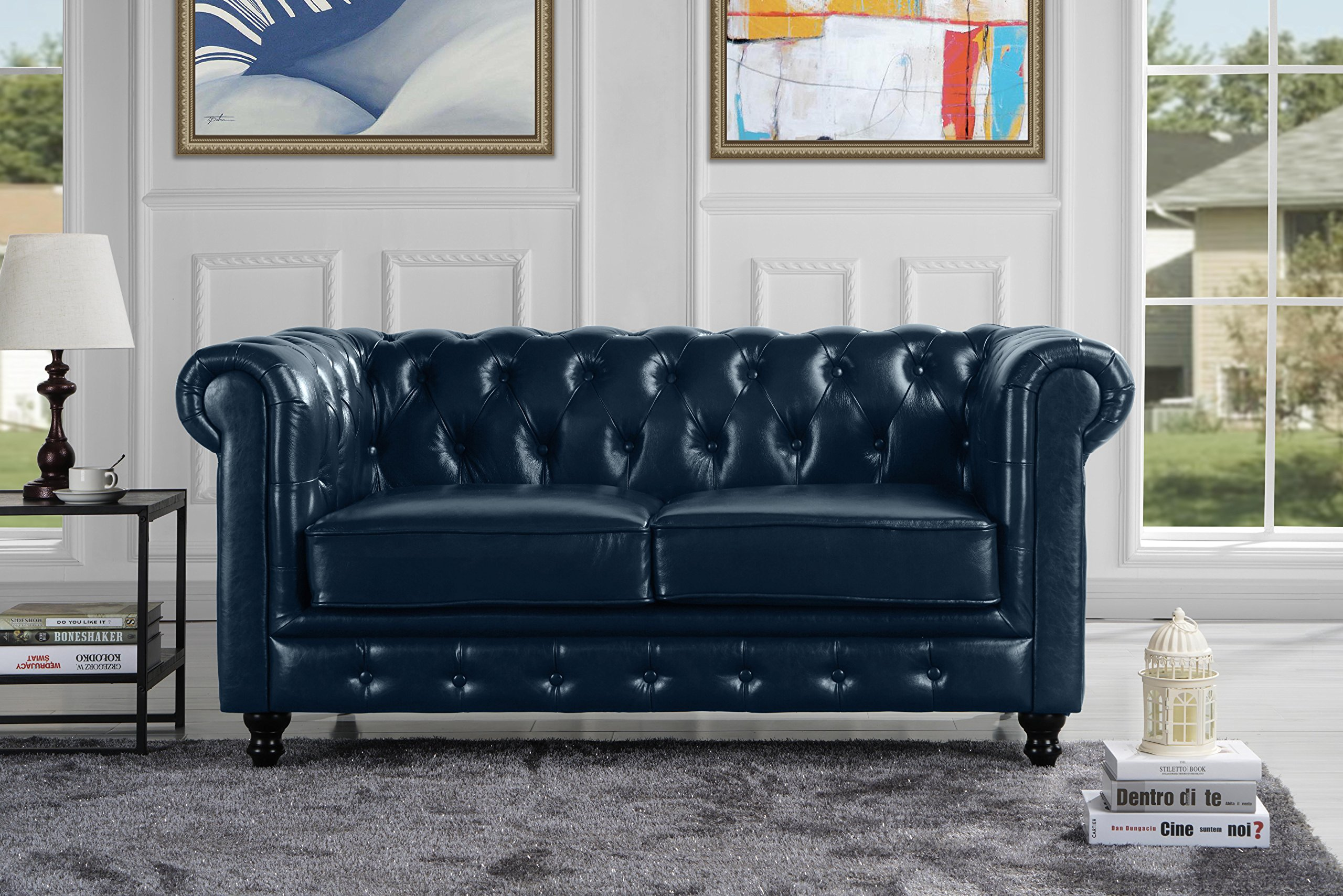 Classic Scroll Arm Real Italian Leather Chesterfield Love Seat (Blue)