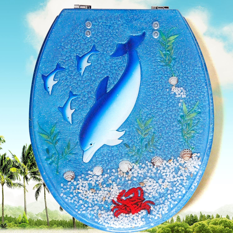 Topseh wc resina copertura igienica Uvo Old-Fashioned generale sedile di gabinetto sedile di gabinetto piastra di copertura ispessimento, Blue Whalesimple moderno e confortevole la rimozione di batteri Home servizi igienici comuni