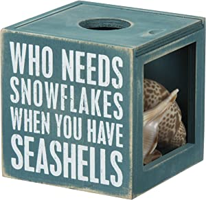 Primitives by Kathy 27814 Beach House Decor Sea Shell Holder, 4.25 x 4.25 x 4.25-inches, The Ocean Is Where I Belong