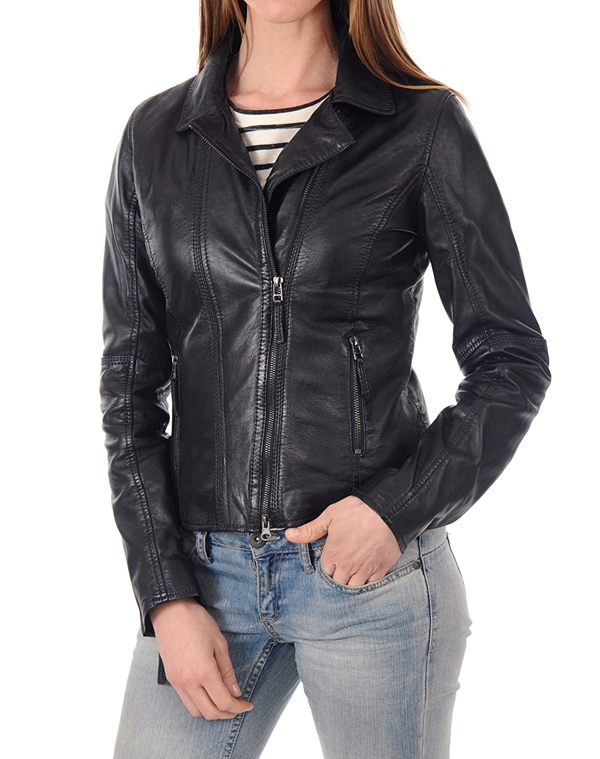 Black21fc DOLLY LAMB 100% Leather Jacket for Women  Slim Fit & Quilted  Moto, Bomber, Biker Winter Casual Wear