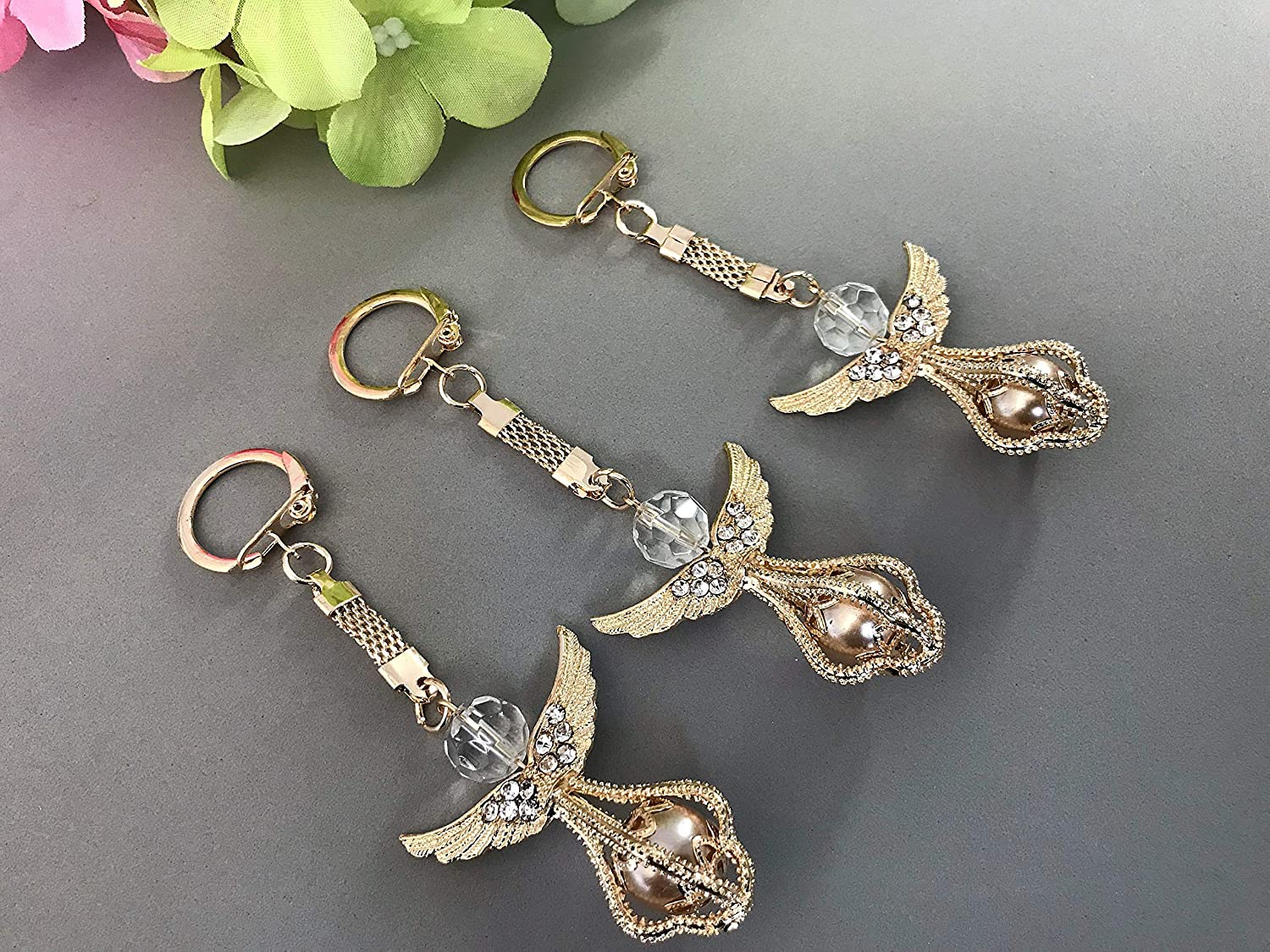 Amazon.com: 12 Gold Plated Angel Baptism Favors Key Chains ...