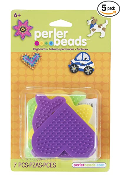 Perler Beads Multicolored Dog Daisy Dolphin Car And Heart Pegboards 7pc