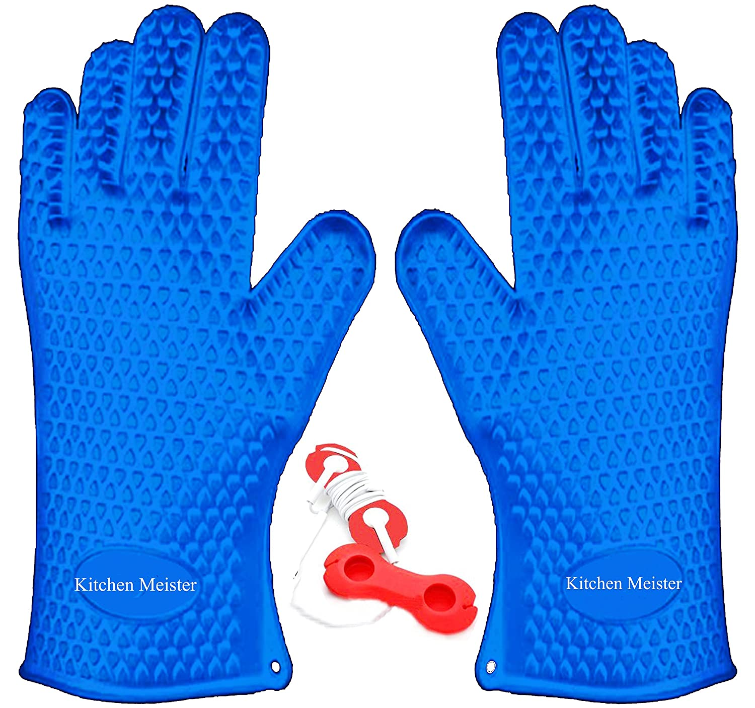Silicone Oven, BBQ Grill, Cooking and Pot Holder Heat Resistant Gloves; Set of 2, Blue, Includes 1 Silicone Earphone Winder Kitchen Meister 50232