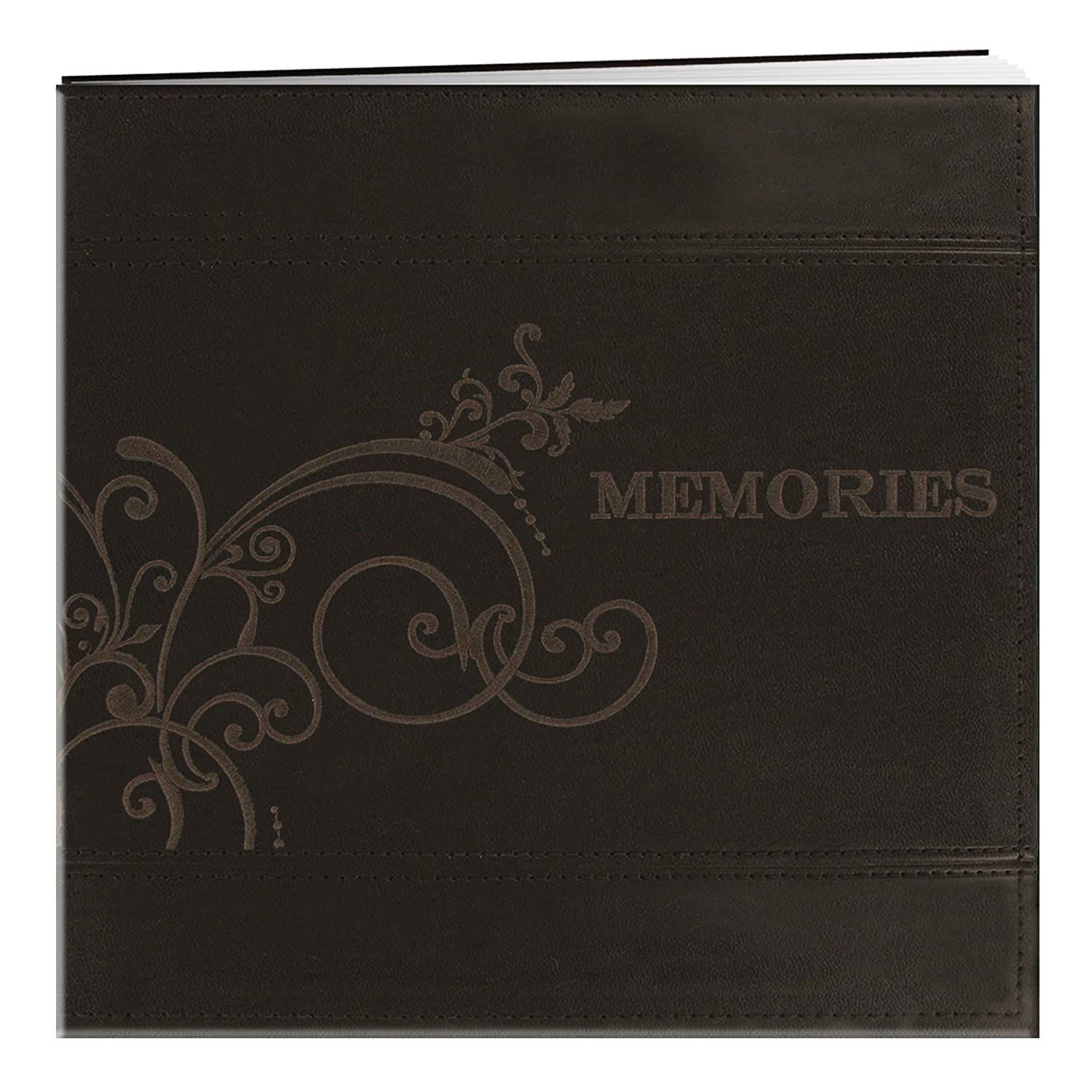 Pioneer Photo Albums 12 x 12-Inch Postbound Embroidered Scroll andWedding Sewn Leatherette Cover Memory Book, Ivory MB-10EMPW