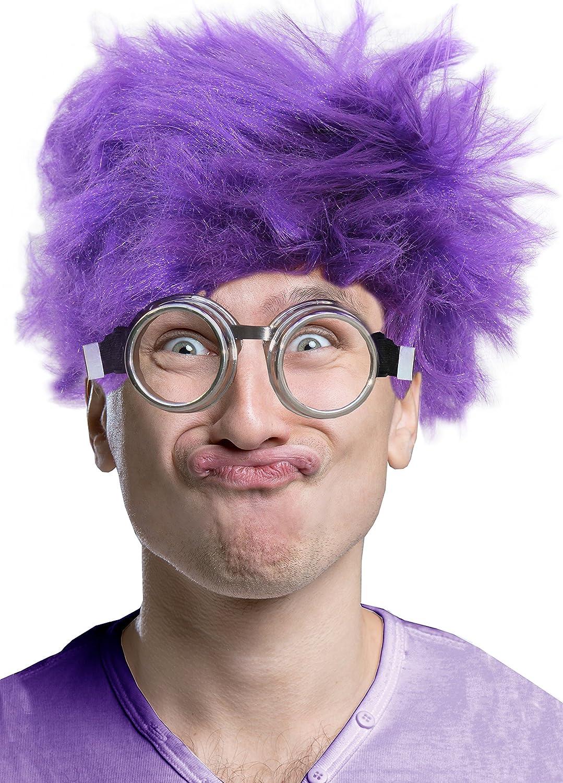 Amazon Com Afro Wig Purple Minion Costume Set Purple Minion Wig And Minion Goggles Clothing