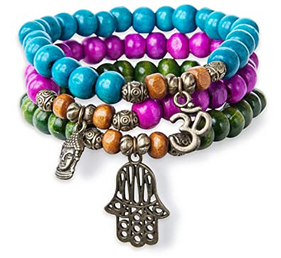 c9acd4042ff863 Image Unavailable. Image not available for. Color: SPUNKYsoul 3 Stack  Stretch Bracelets, Colorful Wood with Hamsa Buddha Om Charm Yoga Collection